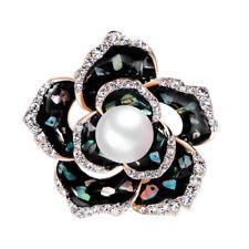 AU_ Black Faux Pearl Rhinestone Rose Flower Brooch Pin Suit Dress Jewelry Gift F