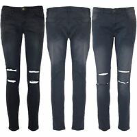 Womens Ladies Distressed Destroyed Ripped Cut Out Knee Skinny Faded Denim Jeans