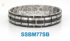 Black Silver Magnetic Men's stainless steel link bracelet Size 6 - 11 inch