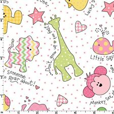 LITTLE ONE FLANNEL TOO Pink Animals Quilt Fabric by 1/2 yd Maywood Studio