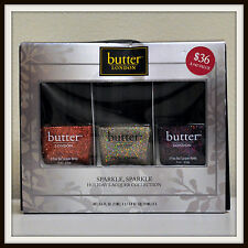 butter LONDON HOLIDAY LACQUER COLLECTION Trio Full Size New Box Black Knight Lee