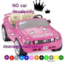 Barbie PRINCESS Crowns girl Toy Car Bike Doll House Decal Sticker SET Custom USA