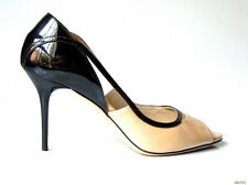 new $695 JIMMY CHOO beige NUDE black open-toe cut-outs shoes 39.5 9.5 - gorgeous