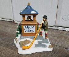Department 56 Alpenhorn Player Alpine Village Sign