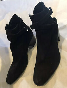 Saint Laurent Paris 38 Black Leather Suede Double Buckle Ankle Boots Size 7