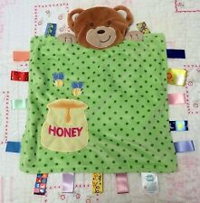 Taggies Peek a Boo Bear Honey Pot dots baby Security blanket satin tags 2 bees