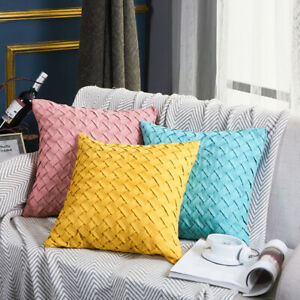 Set Of 2 Throw Pillow Case Cover  3D design, solid colors