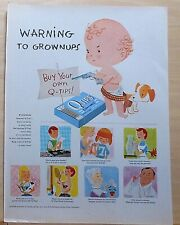 1957 magazine ad for Q Tips - Baby warns grown ups to buy their own, D.Maxey art