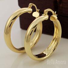Ladies 18ct Yellow Gold Pltd Smooth Round Hoop Creole 35mm Earrings New UK