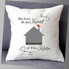 "LOVELY PERSONALISED HOME CUSHION COVER 16""x16"" WITH NAMES FAMILY GIFT"