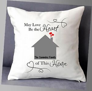 """LOVELY PERSONALISED HOME CUSHION COVER 16""""x16"""" WITH NAMES FAMILY GIFT"""