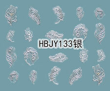 SILVER Peacock Feathers 3D Nail Art Sticker Decals UV Gel Polish Manicure Tips