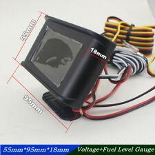 Car Motorcycle 2in1 Multifunctional Voltmeter+Fuel Level Gauge LCD Digital Meter