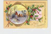 PPC POSTCARD MERRY CHRISTMAS HOLLY SNOW COVERED MILL GOLD EMBOSSED