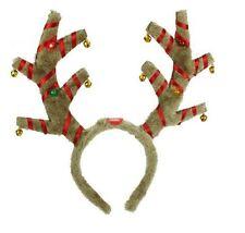 Weihnachten Rentier Geweih Stirnband Kostüm Jingle Bells blinkende LED