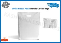 White Plastic Carrier Bags Patch Handle Gift Shopping Strong Plastic  S-M-L-XL