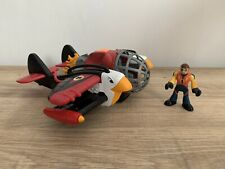 Imaginext Sky Racers Twin Eagle Plane & Figure (by Fisher Price) In VGC
