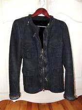 Women's Black Suede/Shearling jacket, beautiful zipper detailings size s(2-4)