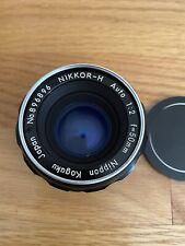 Nikon Nippon Kogaku NIKKOR-H Auto 50mm 1:2 SLR Film Camera Lens With Case.