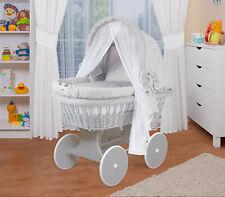 WALDIN Baby Bollerwagen,Stubenwagen,komplett mit Zubehör,Stoffe Grau/Punkte Weiß