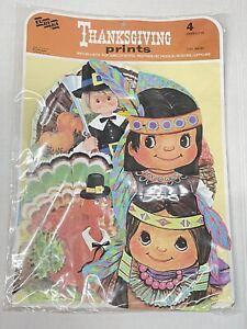 Vintage EUREKA 4pc Thanksgiving Pilgrim Turkey Indian Cardboard Cutouts  NOS