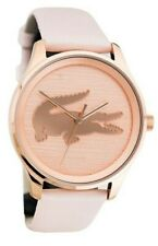 NEW Lacoste Ladies 2000997 Victoria 38MM Pink Leather Watch MSRP $195 NIB