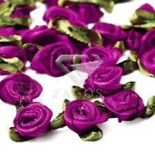 50pcs Lots Satin Ribbon Rose Flower Wedding Craft Appliques Decor Raspberry Rose