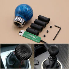 Car Manual/Automatic Light Blue Carbon Fiber Ball Gear Shift Shifter Knob Head