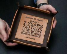 Personalisiertes 2-jähriges Jubiläumsgeschenk, Leder-Valet-Tablett,...