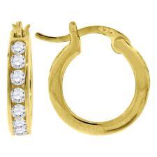 925 Sterling Silver Ladies Cz Hoop Earrings #9604