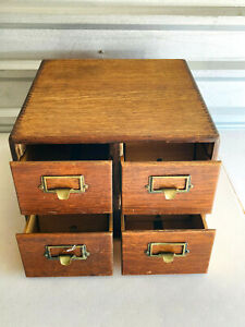 Vintage 4 Drawer Wood Library Cabinet Drawers Yawman & Erbe NICE please read