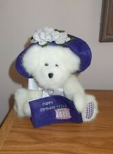 Boyds H B Bersday Jointed Bear Holding Fabric Happy Birthday Card With Tag