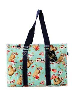 Zip Top Utility Tote Organizer w/pockets purse bag craft NWT FREE SHIP! Sloth