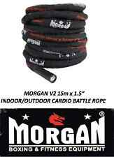 "Battle rope BATTLING BLACK 15m x 1.5"" GYM FITNESS CROSSFIT 12KG indoor outdoor"