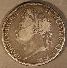 "1821 Great Britain Crown ""Secundo"" Geo. Iiii Circulated * Free U.S. Shipping *"