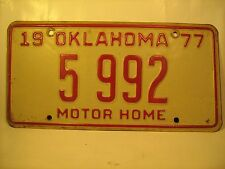 MOTOR HOME TAG License Plate 1977 OKLAHOMA #5 992 [Y59C6]