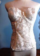 VINTAGE 1950s LINGERIE bustier CORSET Dolores for POIRETTES net LACE 38 White