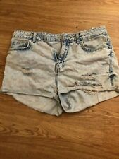 Topshop Moto Hallie blue denim shorts size 12