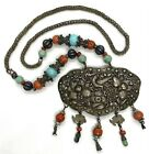 """Antique Chinese Natural Carved Coral Turquoise Sterling Silver Necklace 28""""123g"""