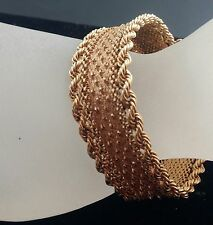 "Retro Period 1940s 18K Solid Rose Gold Mesh Textured  Soft Bangle 7 1/3"" long"