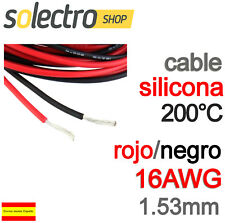 2x 2m CABLE SILICONA 16AWG 1.53mm ROJO NEGRO FLEXIBLE resistente 200°C K0102