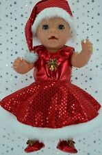 """Play n Wear Doll Clothes 17"""" Baby Born CHRISTMAS CIRCLE DRESS~XMAS HAT~BOOTIES"""