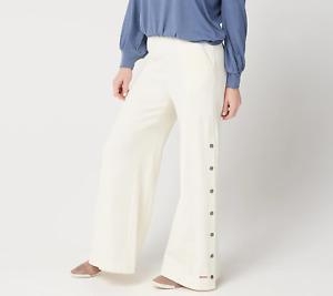 Peace Love World Womens Pants Size XL Ivory High Waist Full Length A349254