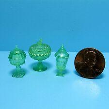Dollhouse Miniature Chrynsbon Candy Dish Set in Green ~ CB68G