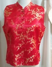 Carole Little Red Gold Knotted Button Front Sleeveless Blouse Sz 12