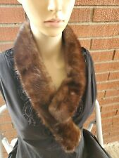Genuine Vintage Mink Fur Collar Scarf Dark Brown  #1210