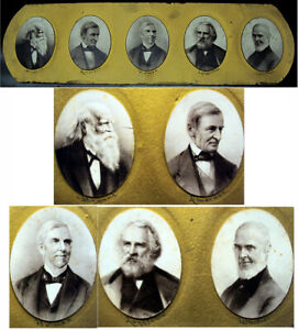 Antique Photos Of Poets Bryant, Emerson, Holmes, Longfellow & Whittier