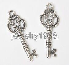 50pcs Tibetan Silver Key Charms Pendants Beads Necklace Bracelet 27X9MM F3363