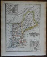 New England Maine New Hampshire Vermont Massachusetts Connecticut 1850 Meyer map