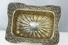 LARGE ANTIQUE RUSSIAN 84 875 MASTER SILVER SALT DISH CELLAR FOOTED RECTANGLE